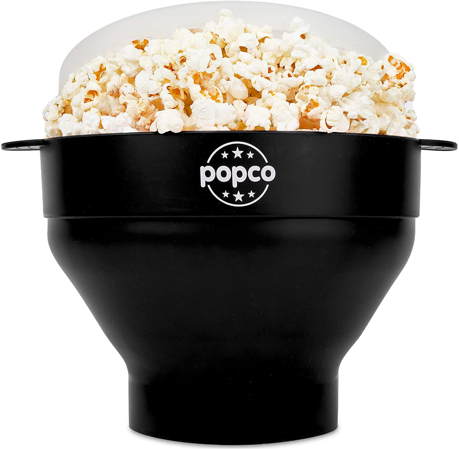 The Original Popco Silicone Microwave Popcorn Popper with Handles, Silicone Popcorn Maker, Collapsible Bowl Bpa Free and Dishwasher Safe - 10 Colors Available (Black)