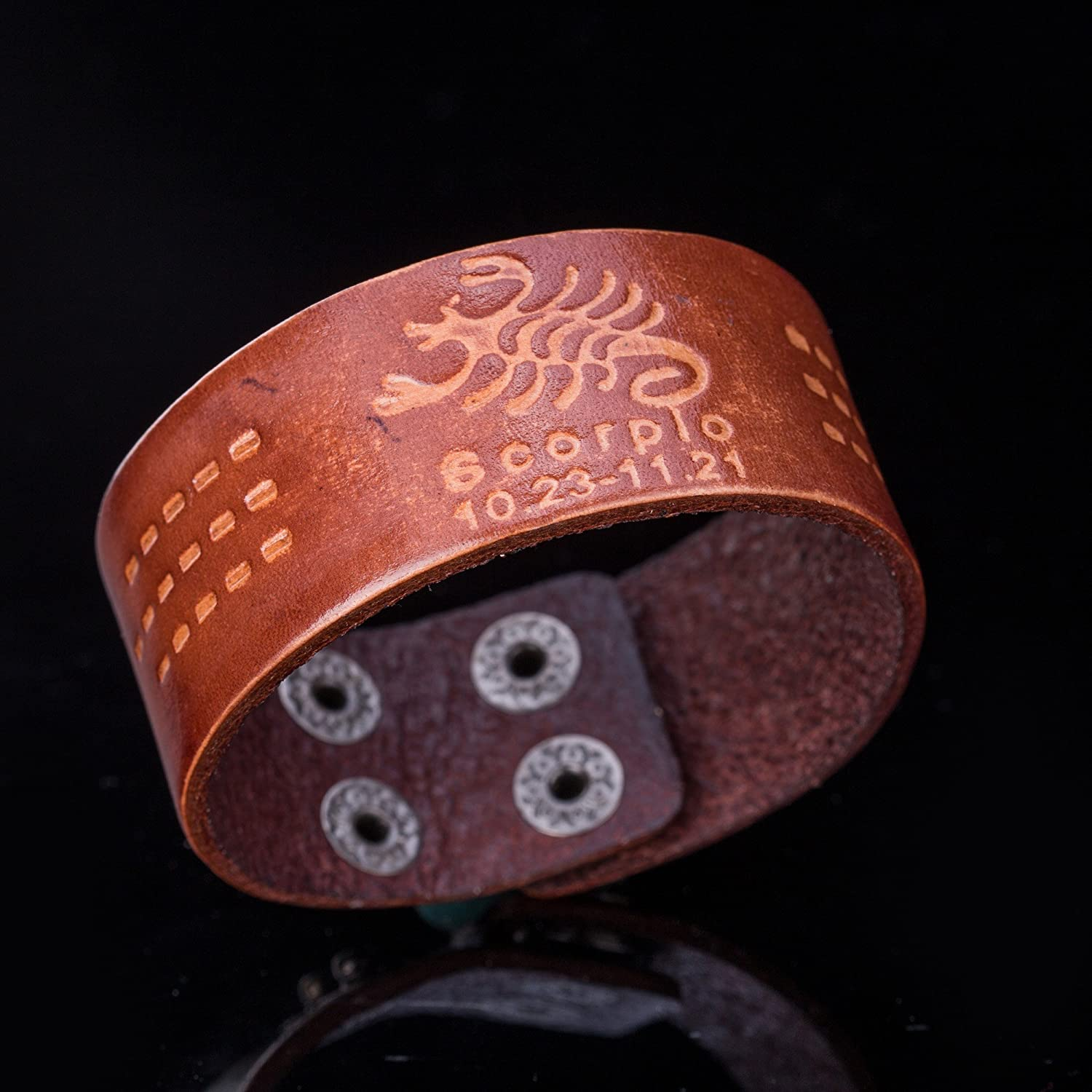 fishhook 12 Constellations Scorpio Sign Wristband Leather Bracelet for Man and Women