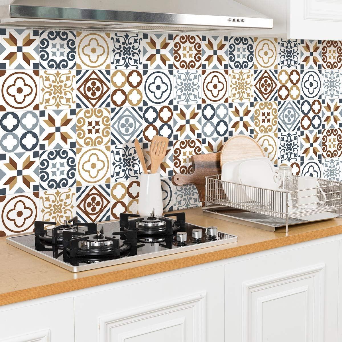 Piastrelle di Cemento Adesivo da Parete Ambiance Sticker Adesivi Piastrelle Adesive 20 x 20 cm Adesivo Piastrelle di Cemento 30 Pezzi Decorazione Murale Adesivi Tessere per Bagno e Cucina