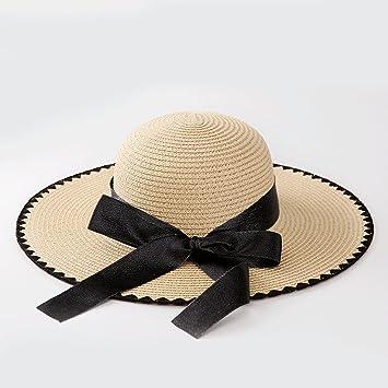 Amazon.com  Sllxgli Large straw hat ladies hat personalized bow wave ... 44c4085e0362