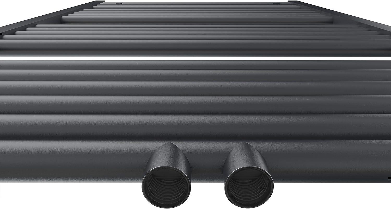 WELMAX Badheizk/örper 100 x 40 cm Antrazit Handtuchtrockner Bad Heizk/örper Mittelanschluss Unten Handtuchheizk/örper 453 Watt Leistung Handtuchw/ärmer