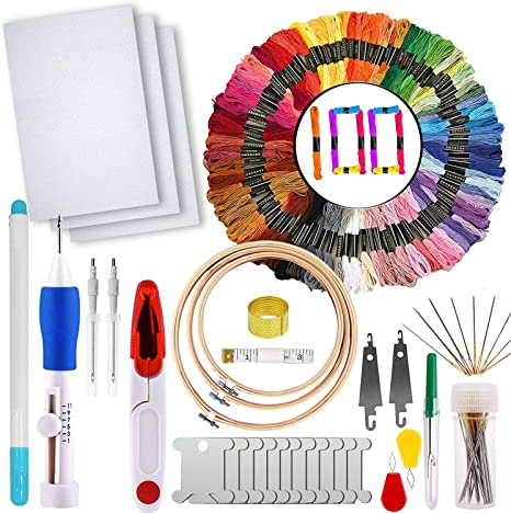 Bamboo Hoops Cross Stitch Tool Kit with 50 Color Threads 12 by 18-Inch 14 Count Classic Reserve Aida and Needles Friendship Bracelets Floss Crafts 100/% Cotton Full Range of Embroidery Starter Kit