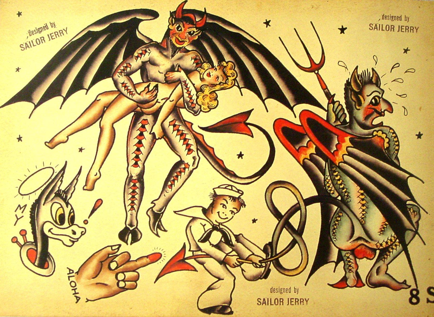 Sailor Jerry Tattoo Flash (10 Sheets): Butterflies, Devils, Pin-up ...