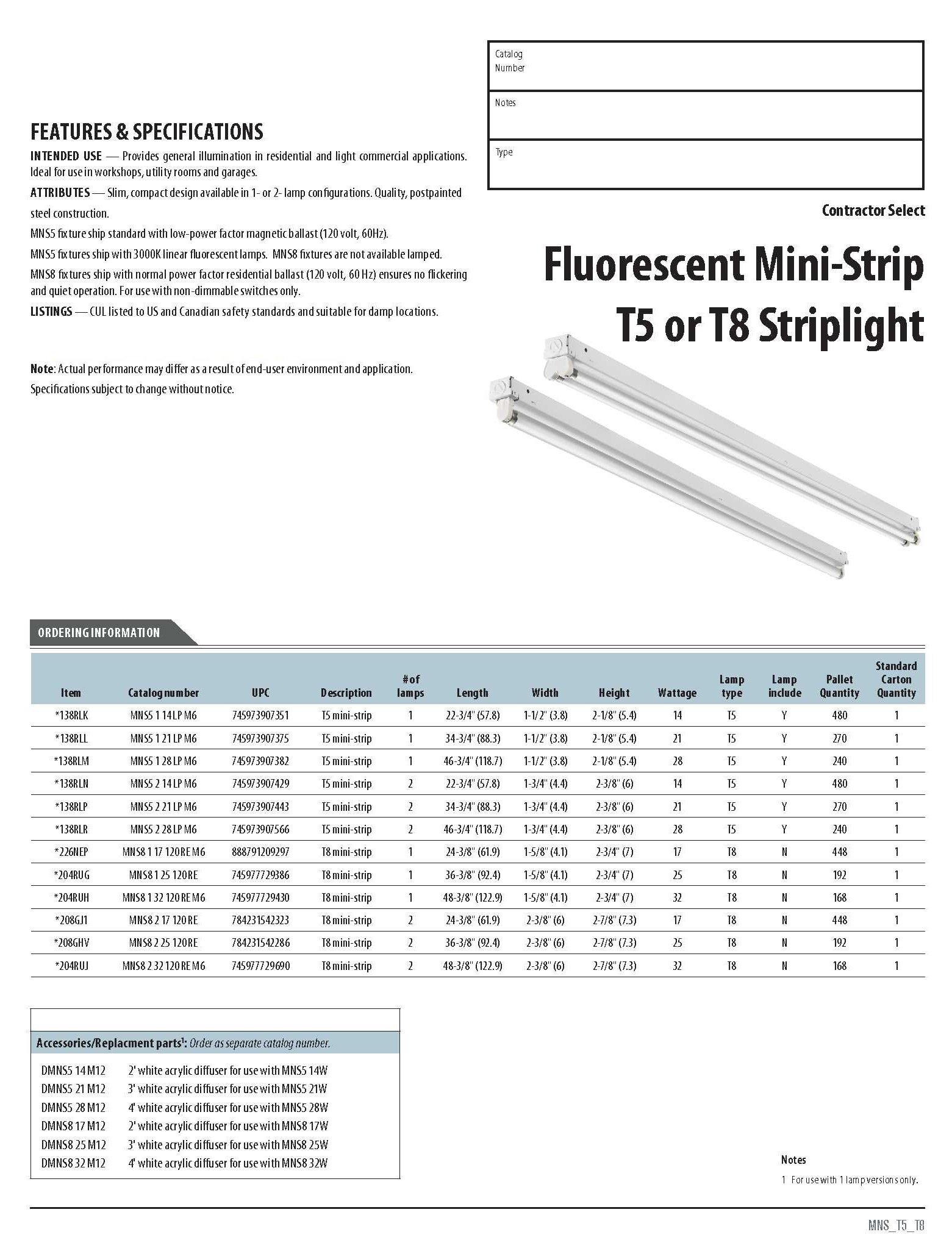 Lithonia Lighting MNS5 2 14 LP M6 4' 2 Light 32W T8 Fluorescent Square Basket Wraparound, White, 2'