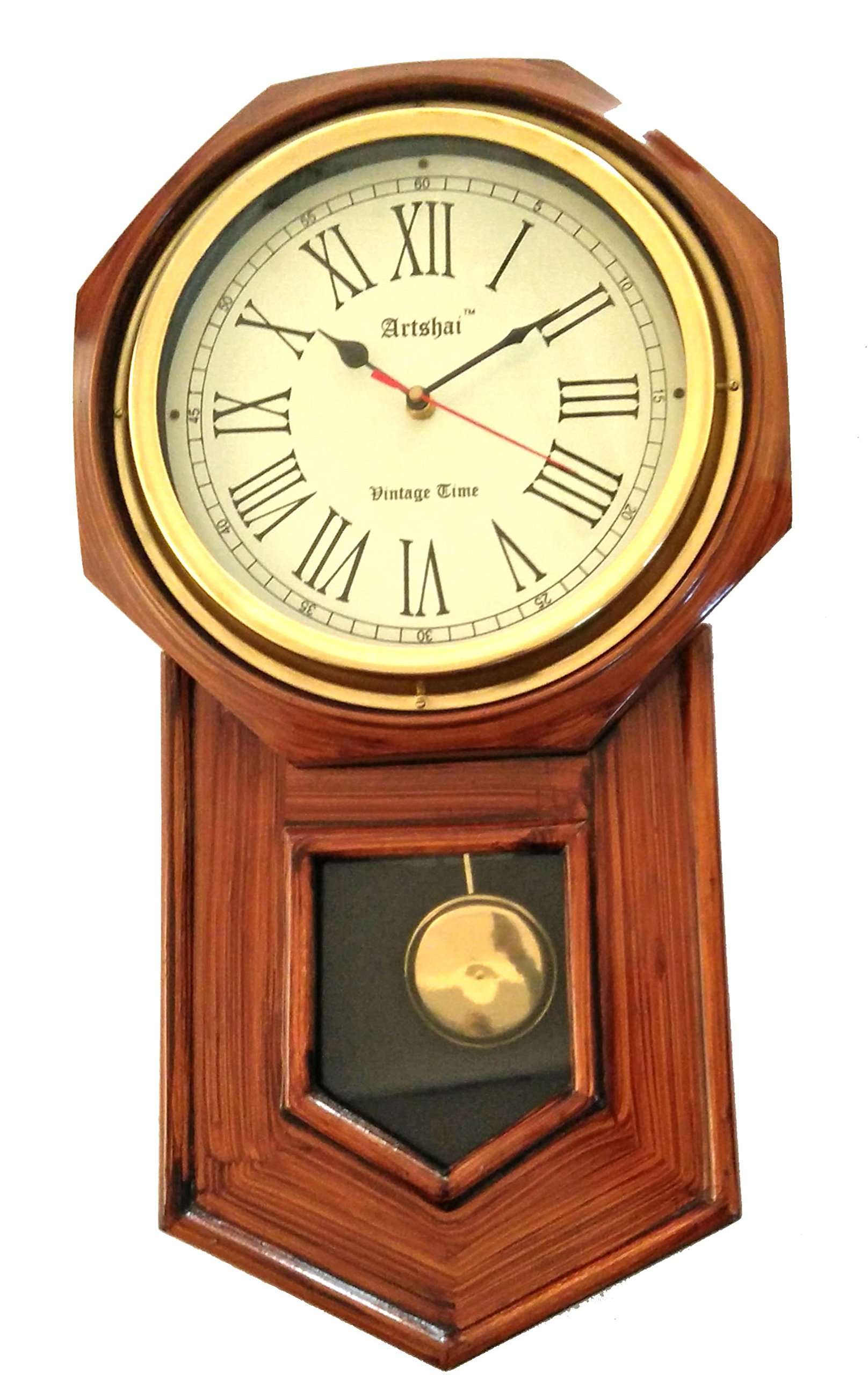 Artshai Antique look pendulum wall clock 20 inch height and 11 inch dial made from wood and brass