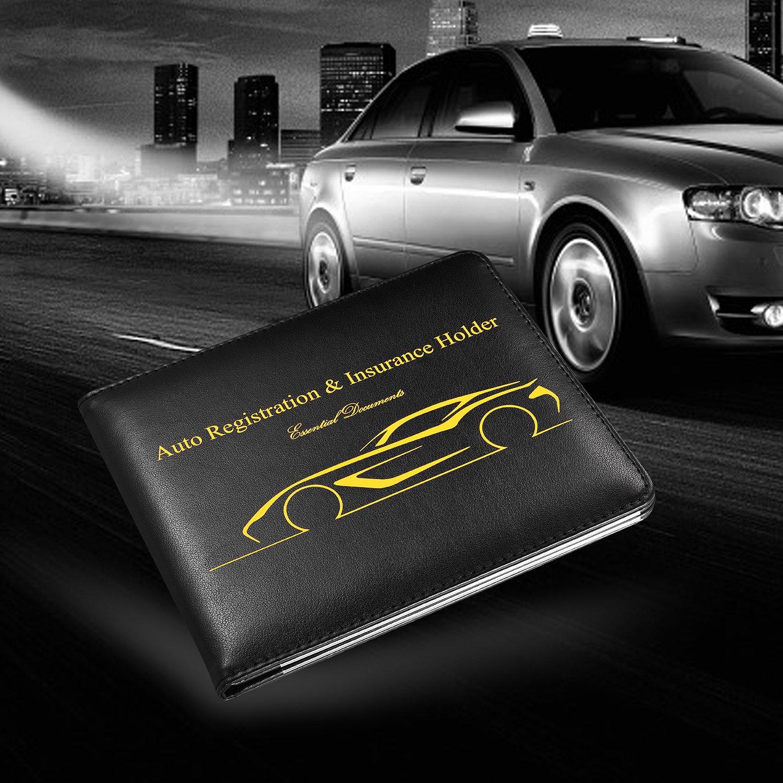 Slim Leather Water Resistant Strong Magnetic Car Registration and Insurance Wallet Holder BASENOR Car Document Holder