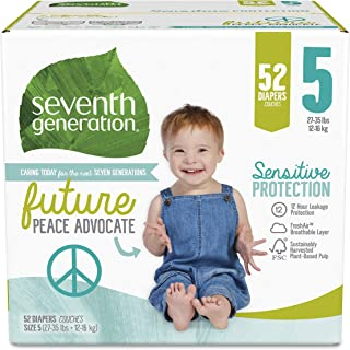 product image for Seventh Generation Baby Diapers, Size 5, 52 Count, Super Pack, for Sensitive Skin