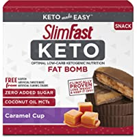 SlimFast Keto Fat Bomb Snacks - Caramel Cup - 14 Count Box - Pantry Friendly