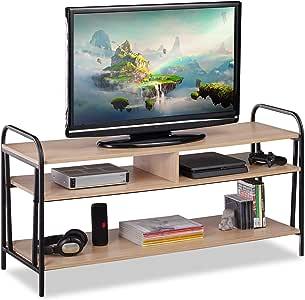 Relaxdays, 60 x 120 x 40 cm, Marrón y Negro Mueble TV Estilo Industrial, Mesa Televisión, Tablero de Partículas y Metal: Amazon.es: Juguetes y juegos
