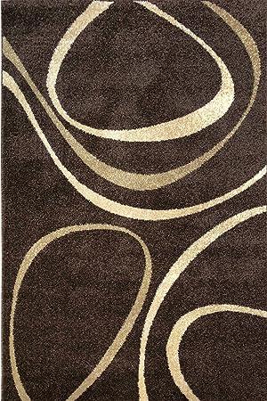Tapis marron, beige et crème motif contemporain 4478, Polypropylène ...