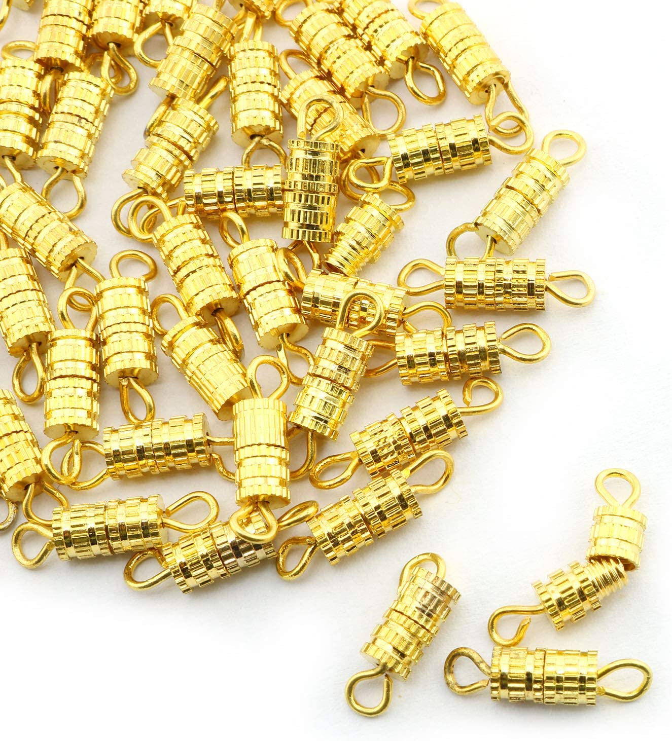 NX Garden Barrel Screw Clasps 50PCS Gold Screw Barrel Jewelry Necklace Bracelet Clasps Connectors 4x13.5mm
