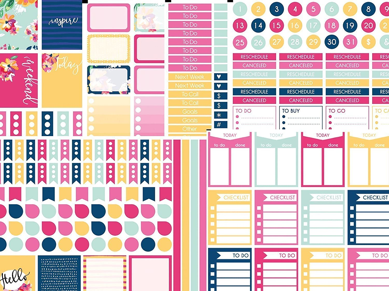 Life Planner Sticker Kit For Him 6 sheets of stickers on premium matte