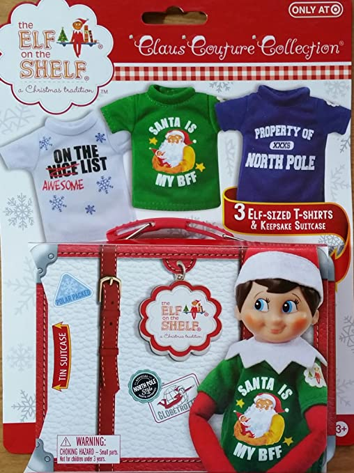 588f62128 Amazon.com: Elf on the Shelf Graphic Tee Multipack with 3 elf-sized t-shirts  and keepsake tin suitcase: Toys & Games