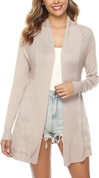 Women/'s Long Sleeve Open Front Round Neck Cardigan Sweater Pure Colour