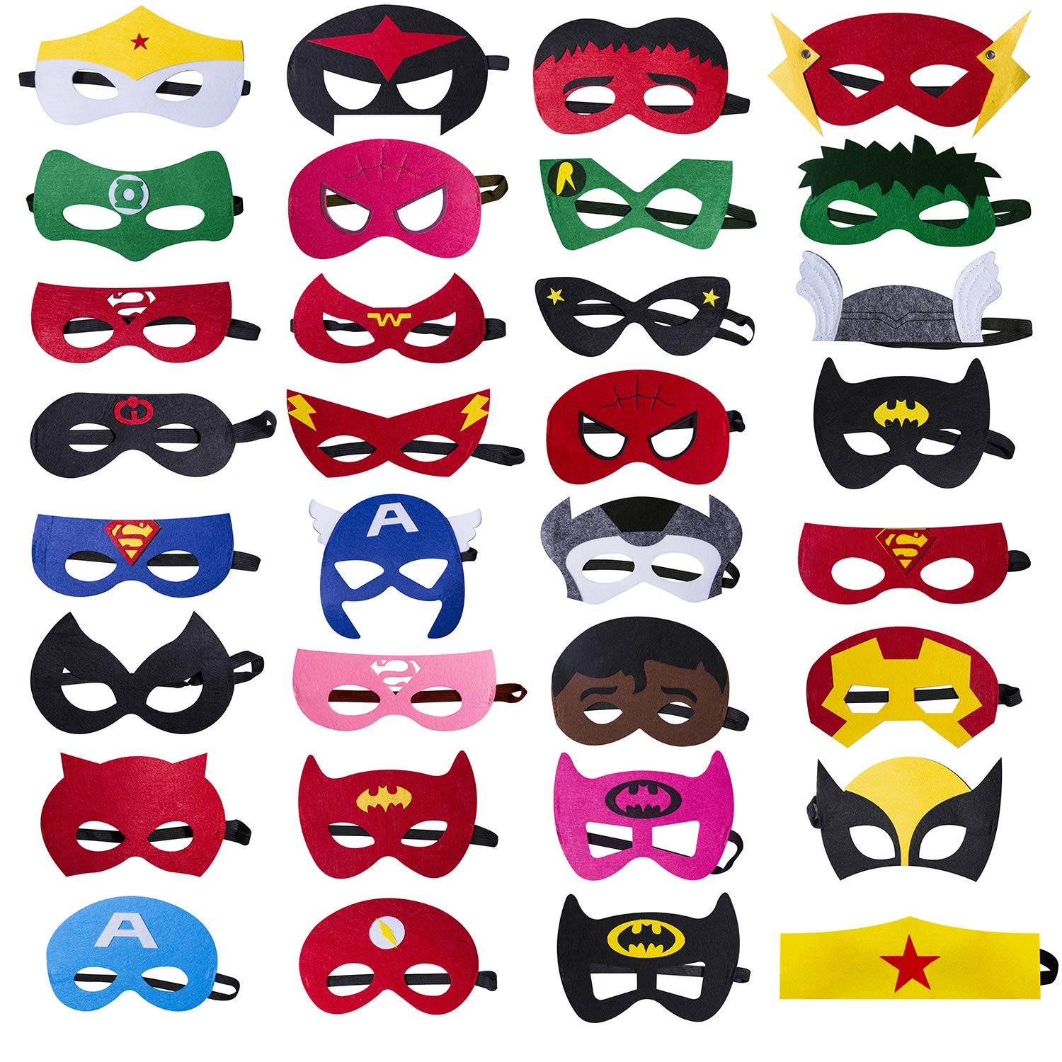 Darller 32 Pcs Halloween Felt Masks Superhero Party Supplies Superhero Mask for Children Aged 3+ ACS-156-1