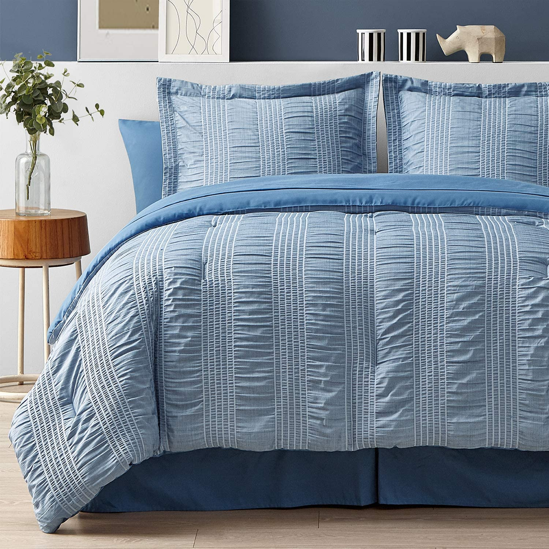 Bedsure Full/Queen Comforter Set 8 Piece Bed in A Bag Stripes Seersucker Soft Lightweight Down Alternative Blue Bedding Set 88x88 inch