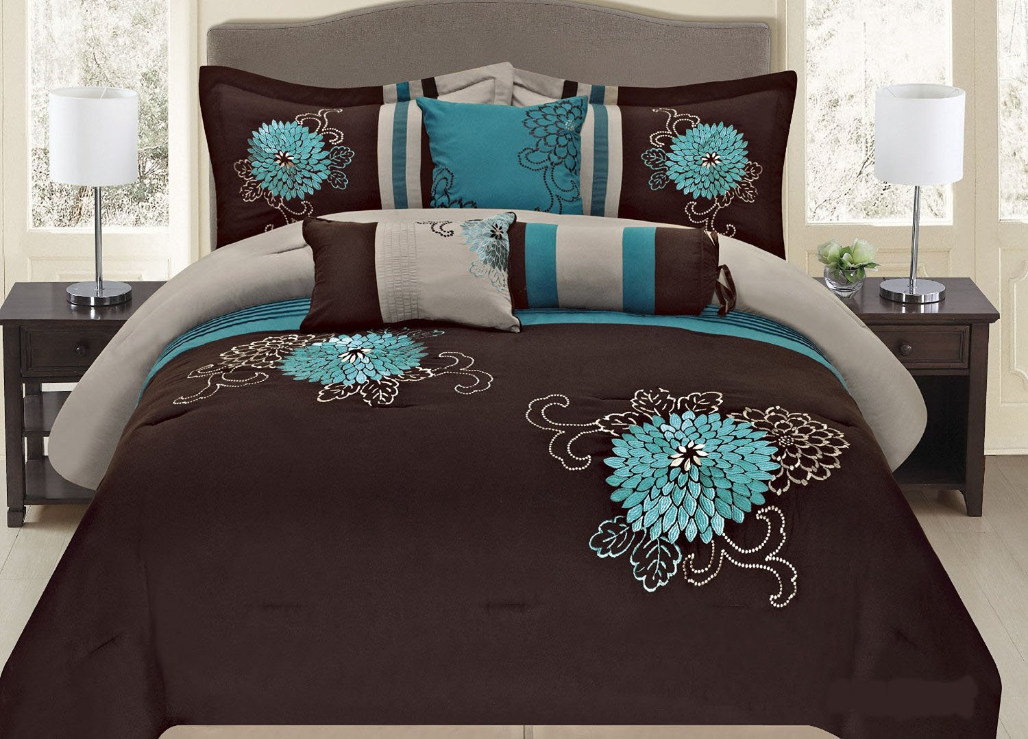 7-pc Embroidery Bedding Brown Turquoise or Purple Lavender Comforter Set