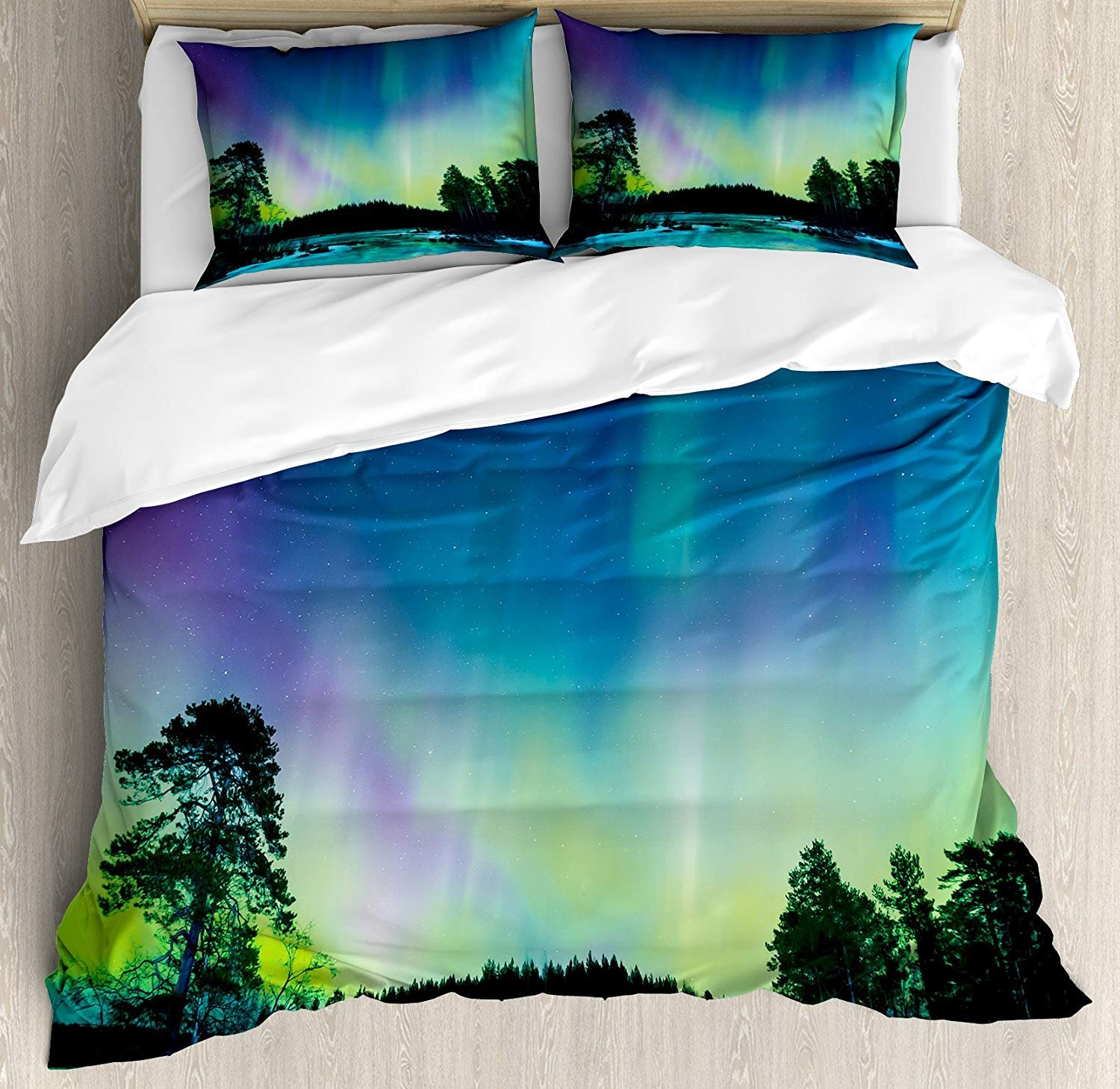 Family Decor Aurora Borealis Twin Duvet Cover Sets 4 Piece Bedding Set Bedspread with 2 Pillow Sham, Flat Sheet for Adult/Kids/Teens, Sky over Lake Surrounded Forest Woods Hemisphere Print