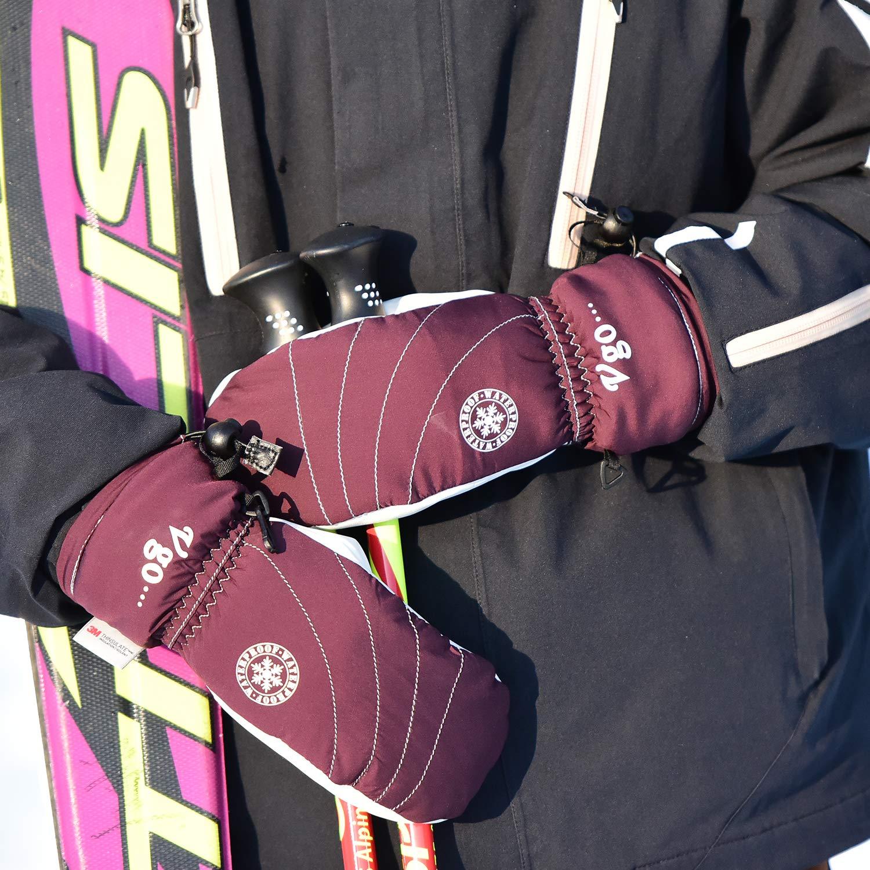 1Paire au Dessus -20℃ /3M Thinsulate G80 Gants de Ski Anti-Froid en Cuir de ch/èvre avec /écran-Tactile Vgo.. Gants imperm/éables pour Le Travail de Stockage Taille 8//M, Violet,SF-GA2443FW