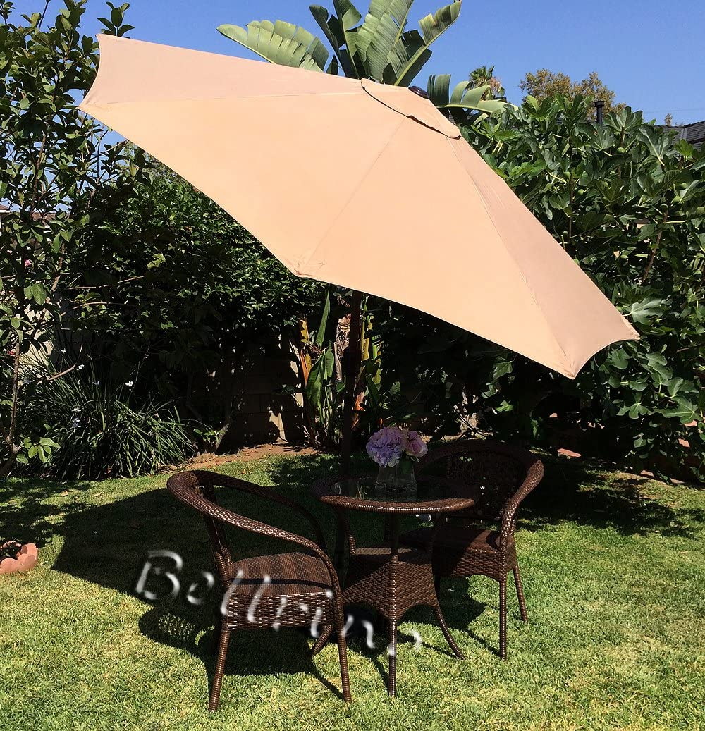BELLRINO DECOR Replacement LIGHT COFFEE TAN STRONG AND THICK Umbrella Canopy for 9ft 8 Ribs LIGHT COFFEE TAN Canopy Only