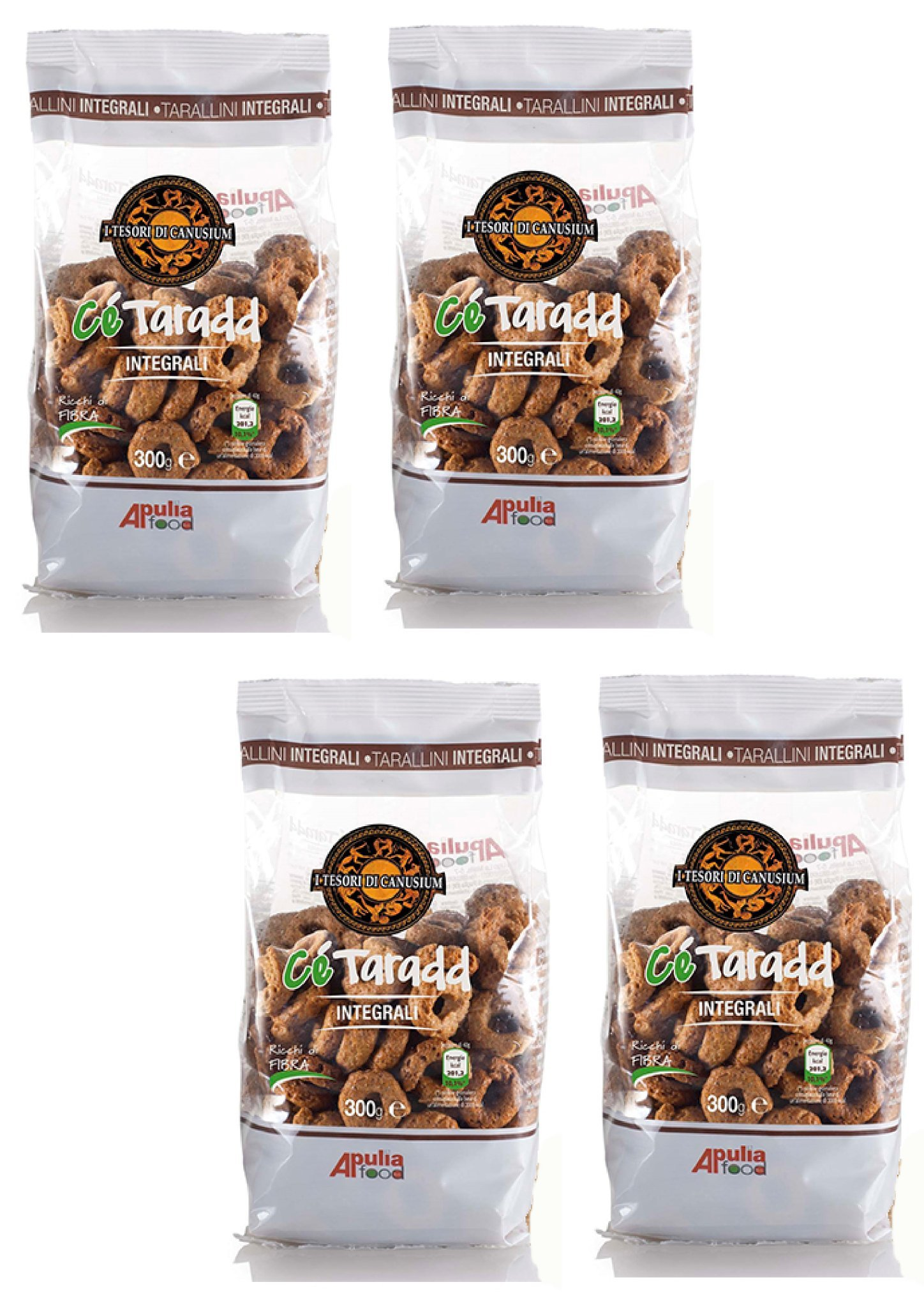 I Tesori di Canusium: Ce Taradd Integrali, Taralli with Whole Wheat 10.58 Ounce (300gr) Package (Pack of 4) [ Italian Import ]