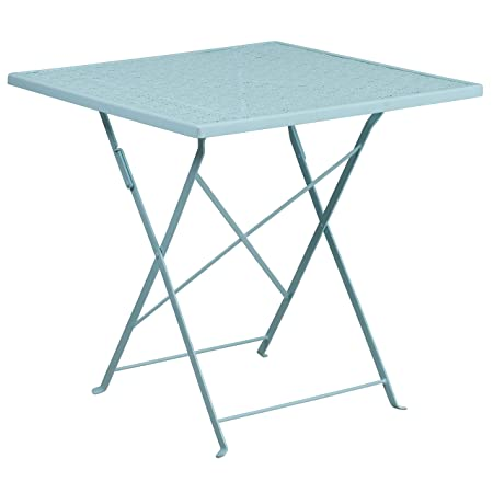 Flash Furniture 28 Square Sky Blue Indoor-Outdoor Steel Folding Patio Table