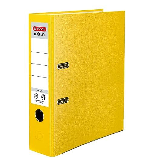 Herlitz 9942590 - Archivador A4 8 cm papel reciclado color amarillo con solapa color gris claro (Pack de 5): Amazon.es: Oficina y papelería