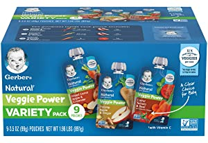 Gerber Natural Veggie Power Baby Food Pouch Variety Pack, 3 Mixed Carrot Apple & Coriander, 3 Parsnip Apple & Ginger, 3 Carrot Tomato & Basil, 3.5 OZ Pouches (Pack of 1)
