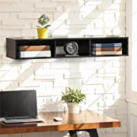 FITUEYES Floating Hutch Wall Mounted Open Shelf Media Console Rack Cabinet with Storage Black Entryway Shelf