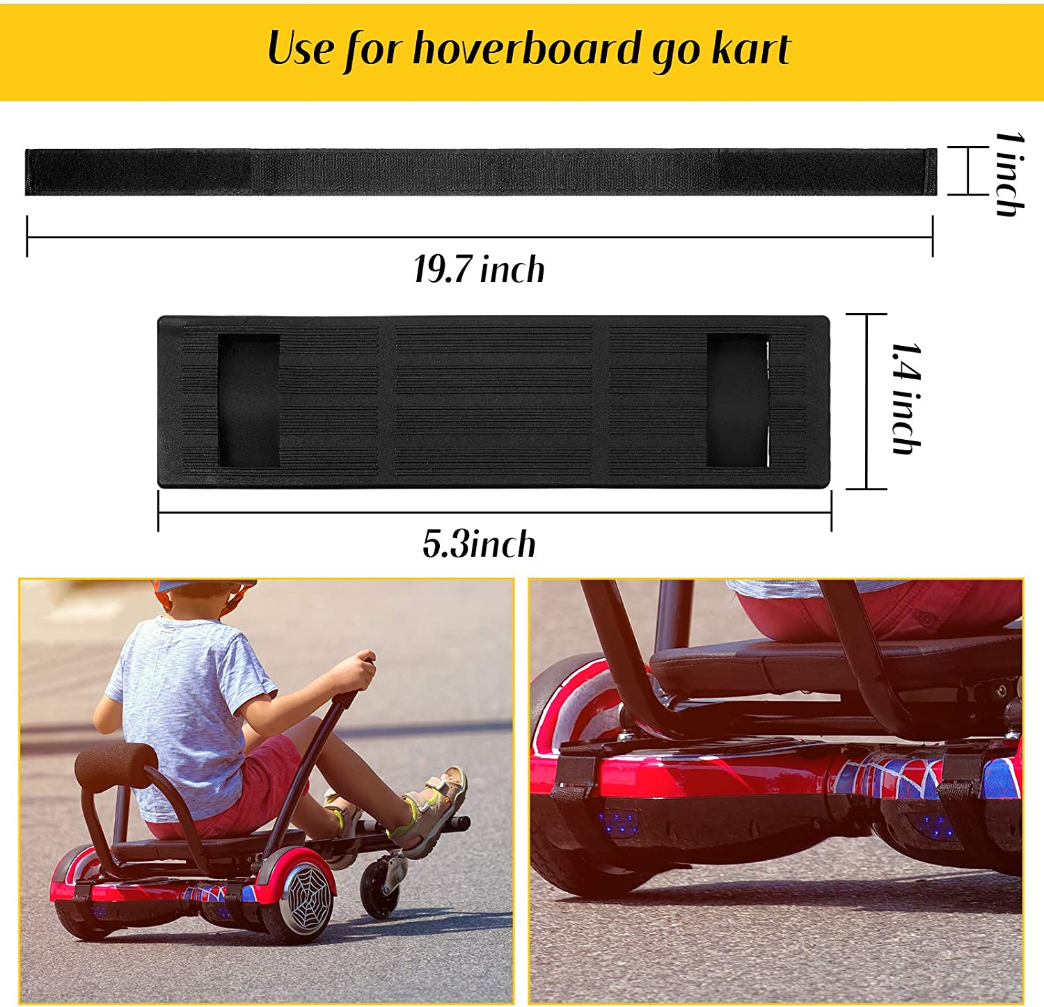 Black 12 Pieces Adjustable Hoverboard Straps and Strap Protector Hook and Loop Fastening Cable Hoverboard Replacement Straps for Kart Accessories Self Balance Scooter