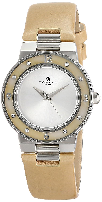 Charles-Hubert-Paris Damen-Armbanduhr 32mm Armband Kalbsleder Champagner GehÄuse Edelstahl Quarz 6899-G