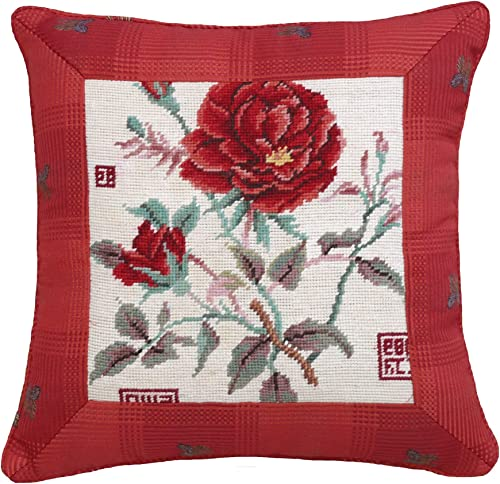 123Creations Rose Needlepoint Pillow