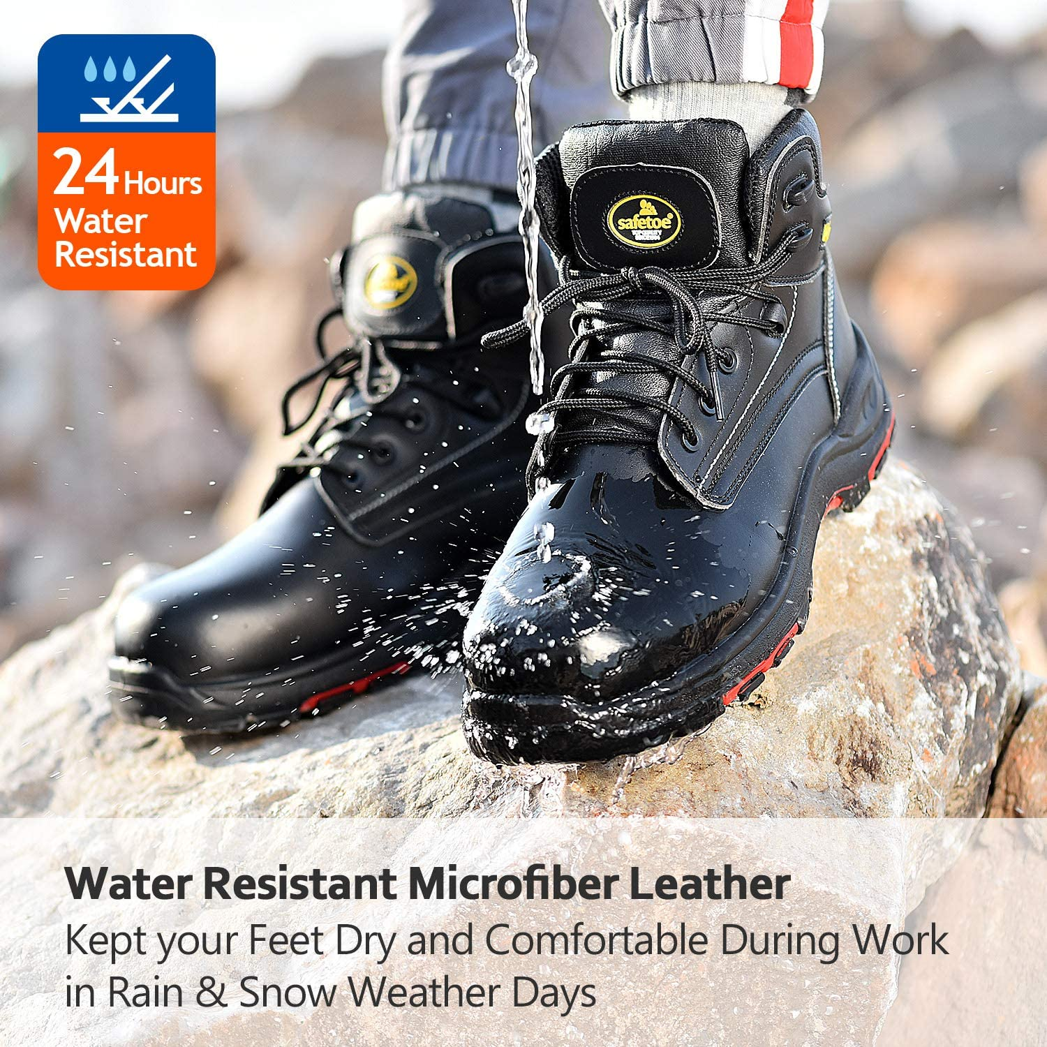 SAFETOE Work Safety Boots for Men /& Women,Black Waterproof Composite Toe Work Boots Insulated Work Safety Shoes for Industrial Construction