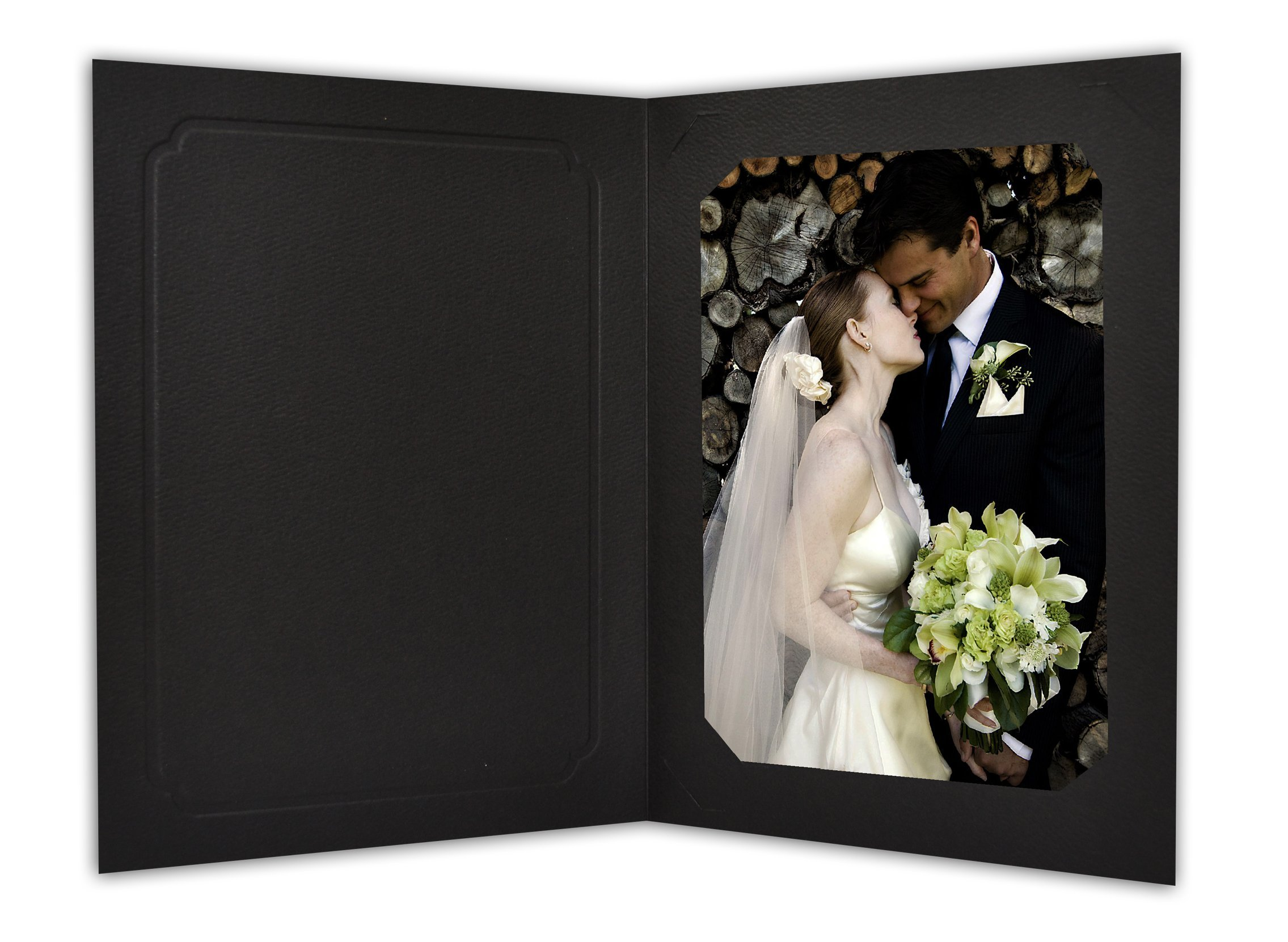 Golden State Art, Cardboard Photo Folder for 5x7/4x6 (Pack of 50) Cut corners GS010-S Black Color by Golden State Art