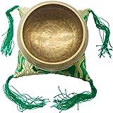 チベットシンギングボウル、パワーがある医療ヨガ仏音鉢。棒あり、シルクの敷物もあり。2.9インチのチベット鈴。銅色の仏教鉢、ネパール仏碗、銅碗、キリン紋様ボウル、ヒマラヤ銅ボウル、修行鉢、アマナマナシンギングボウル 仏教 瞑想 治癒 弛緩 ヨガ用 心霊浄化 8.5CM… [並行輸入品]