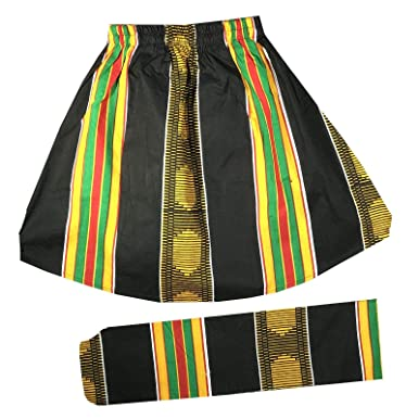 646dd85dc33 Amazon.com  Decoraapparel Girls African Wax Skirt Ankara Print Vintage Kid  Sizes 3T to 5T One Size (Black Gold Kent Print 7)  Clothing