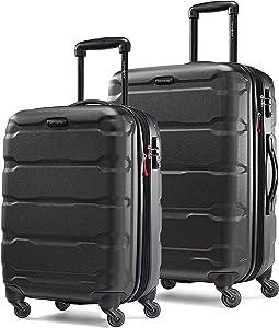 Samsonite Omni PC Hardside Expandable Luggage with Spinner Wheels, Black, 2-Piece Set (20/24)