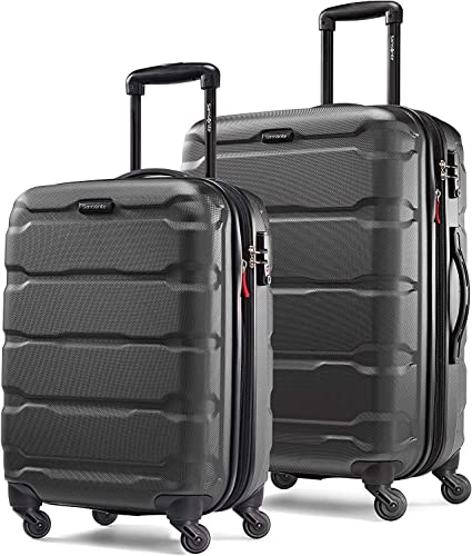 Samsonite Omni PC Hardside Expandable Luggage with Spinner Wheels, Black, 2-Piece Set 20 24