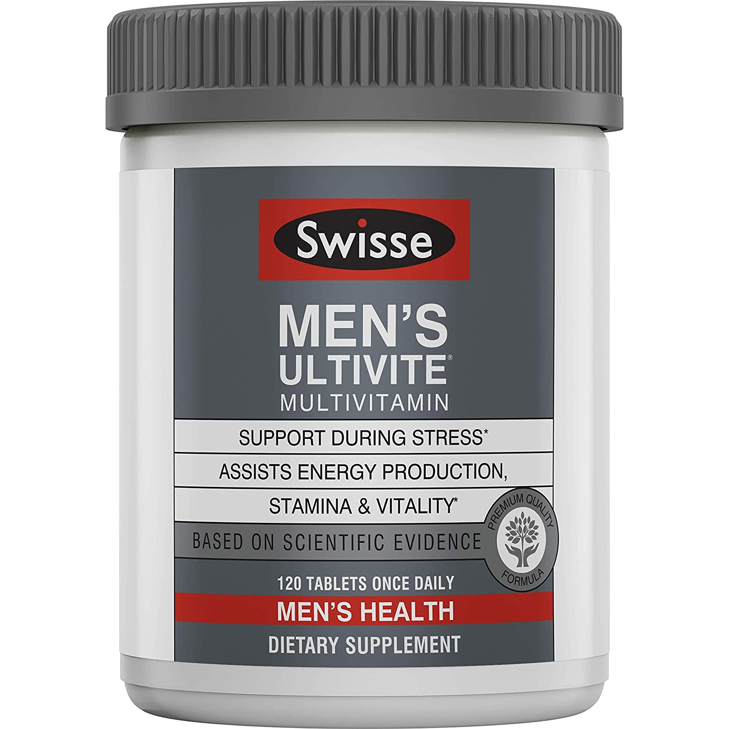 Swisse Premium Ultivite Daily Multivitamin for Men Energy Stress Support, Rich in Antioxidant Minerals Vitamin A, Vitamin C, Vitamin D, Biotin, Calcium, Zinc More 120 Count Tablets