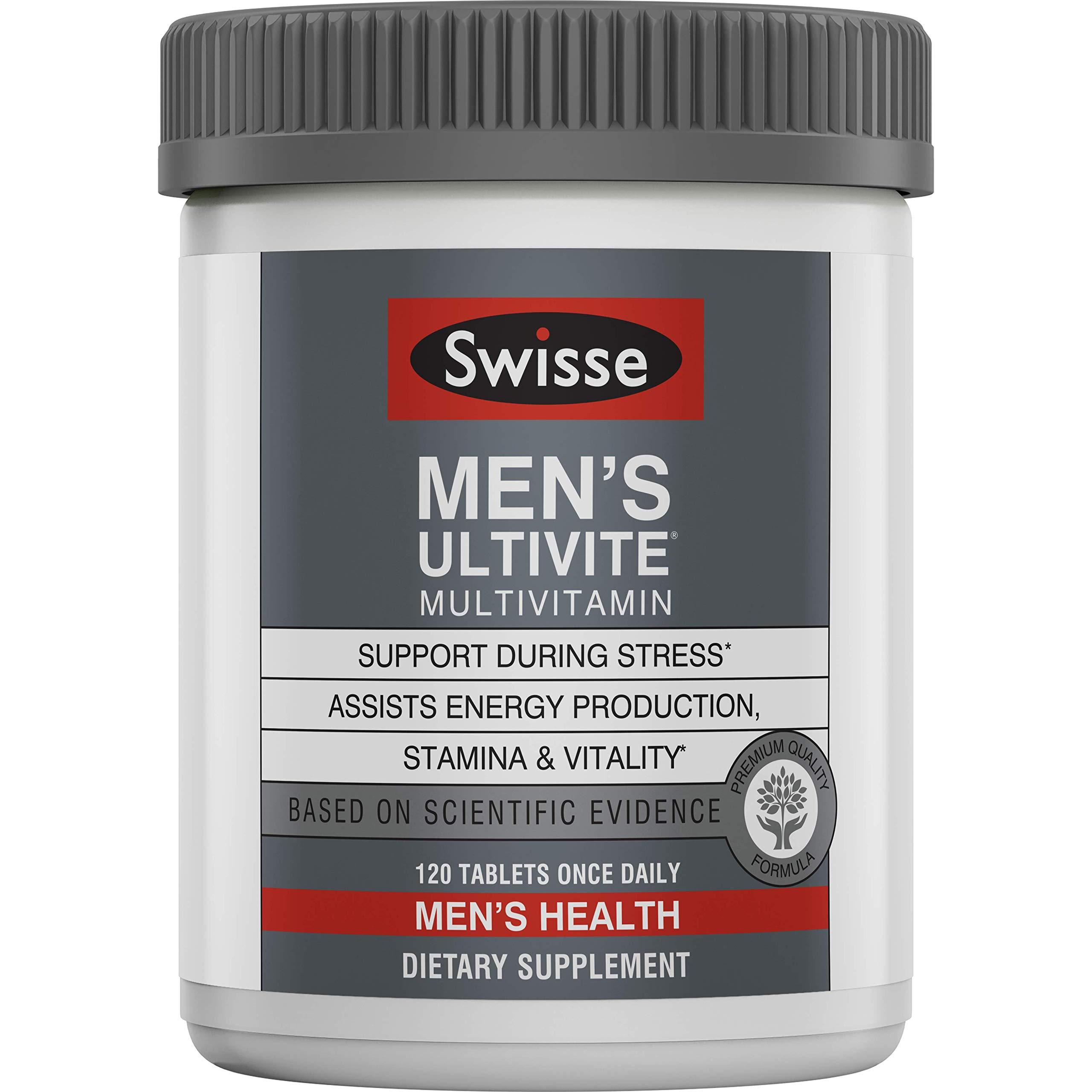 Swisse Premium Ultivite Daily Multivitamin for Men   Energy & Stress Support, Rich in Antioxidant & Minerals   Vitamin A, Vitamin C, Vitamin D, Biotin, Calcium, Zinc & More   120 Tablets