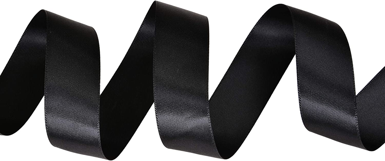 1m Satin ribbon 25mm single sided 1 inch wide party wedding decor BLACK
