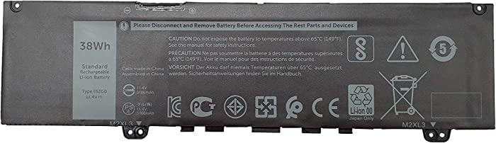 Tinkerpal F62G0 11.4V 38Wh/3166mAh Replacement Laptop Battery for Dell Inspiron 13 5370 7370 7373 7380 7386 Vostro 13-5370-D1505G Series Notebook F62GO RPJC3 39DY5 3-Cell -12-Month Warranty
