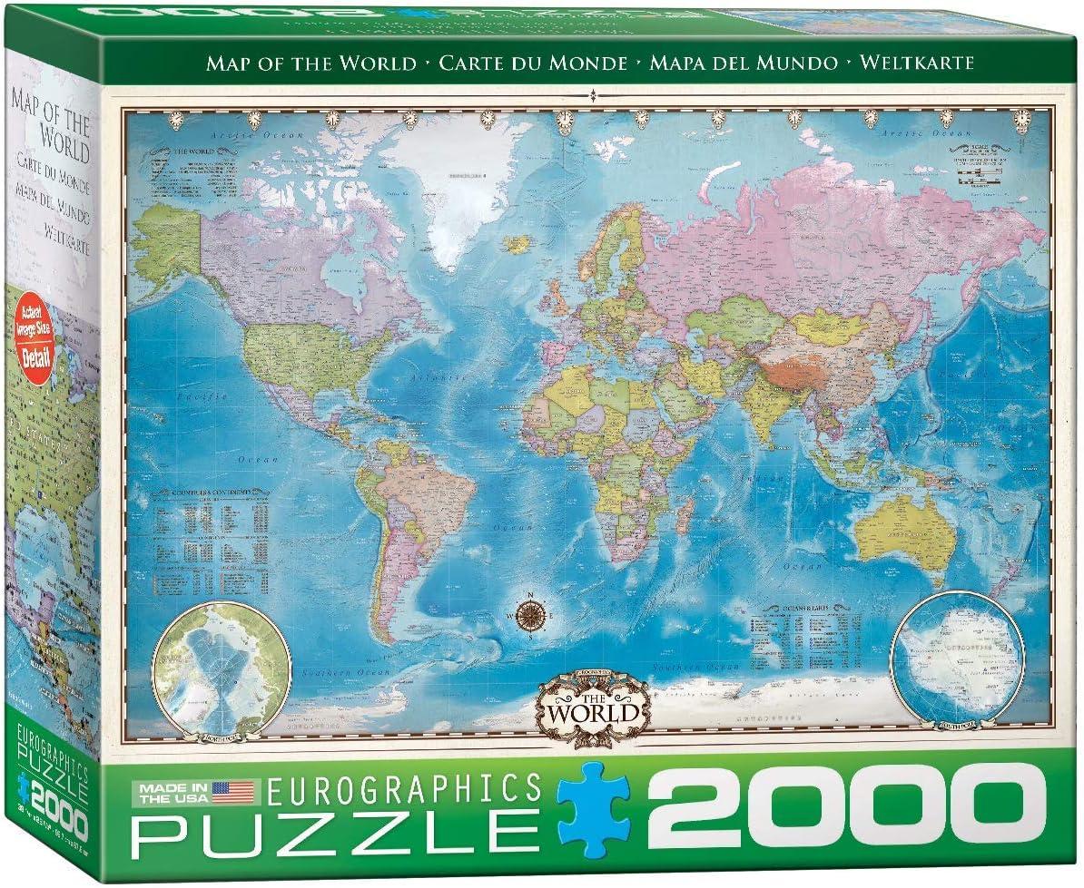 EuroGraphics Map of The World 2000pcs Puzzle - Rompecabezas (Puzzle Rompecabezas, Mapas, Niños y Adultos, Niño/niña, Interior, Caja): Amazon.es: Juguetes y juegos