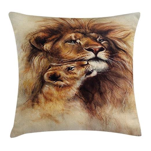 juchenjixie Safari Funda de cojín, pintura del amor del león ...