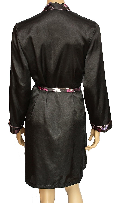 Ex M&S Black Long Sleeve Satin Kimono Dressing Gown Robe Wrap. Sizes ...