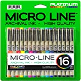 Micro-Line Ultra Fine Point Ink Pens - (SET OF 16) - Archival Ink - Assorted Colors in 0.3 MM Felt Tip - 5 Blacks in Tip Sizes 0.25MM to 0.5MM - Competes with Micron Fine Point Permanent Markers