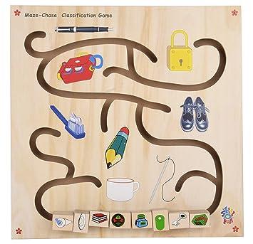 Skillofun Wooden Maze Chase - Classification Game, Multi Color