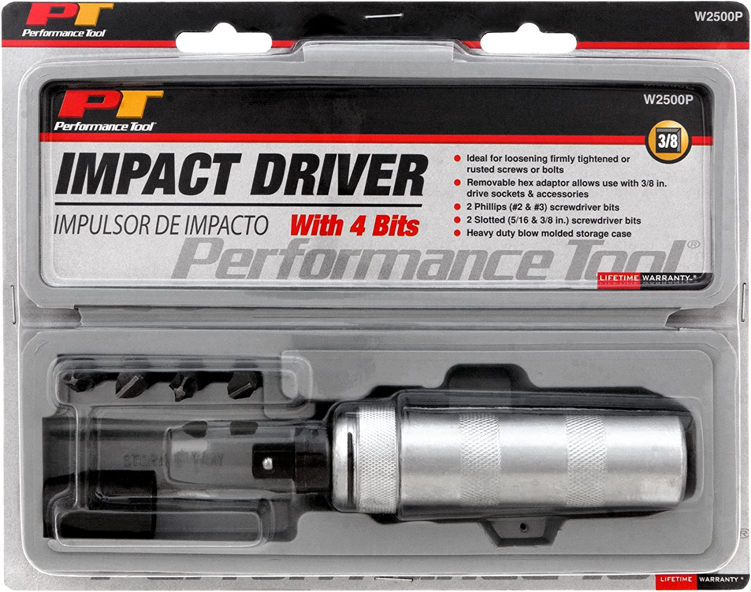 """Performance Tool W2500P 3//8/""""/"""" Dr Impact Driver 4 tips"""