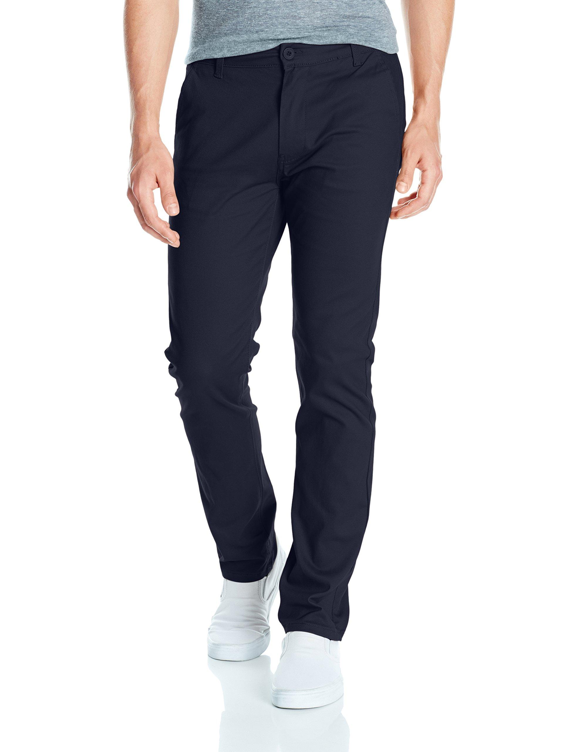 Southpole Men's Flex Stretch Basic Long Chino Pants, New Navy (New), 42X34