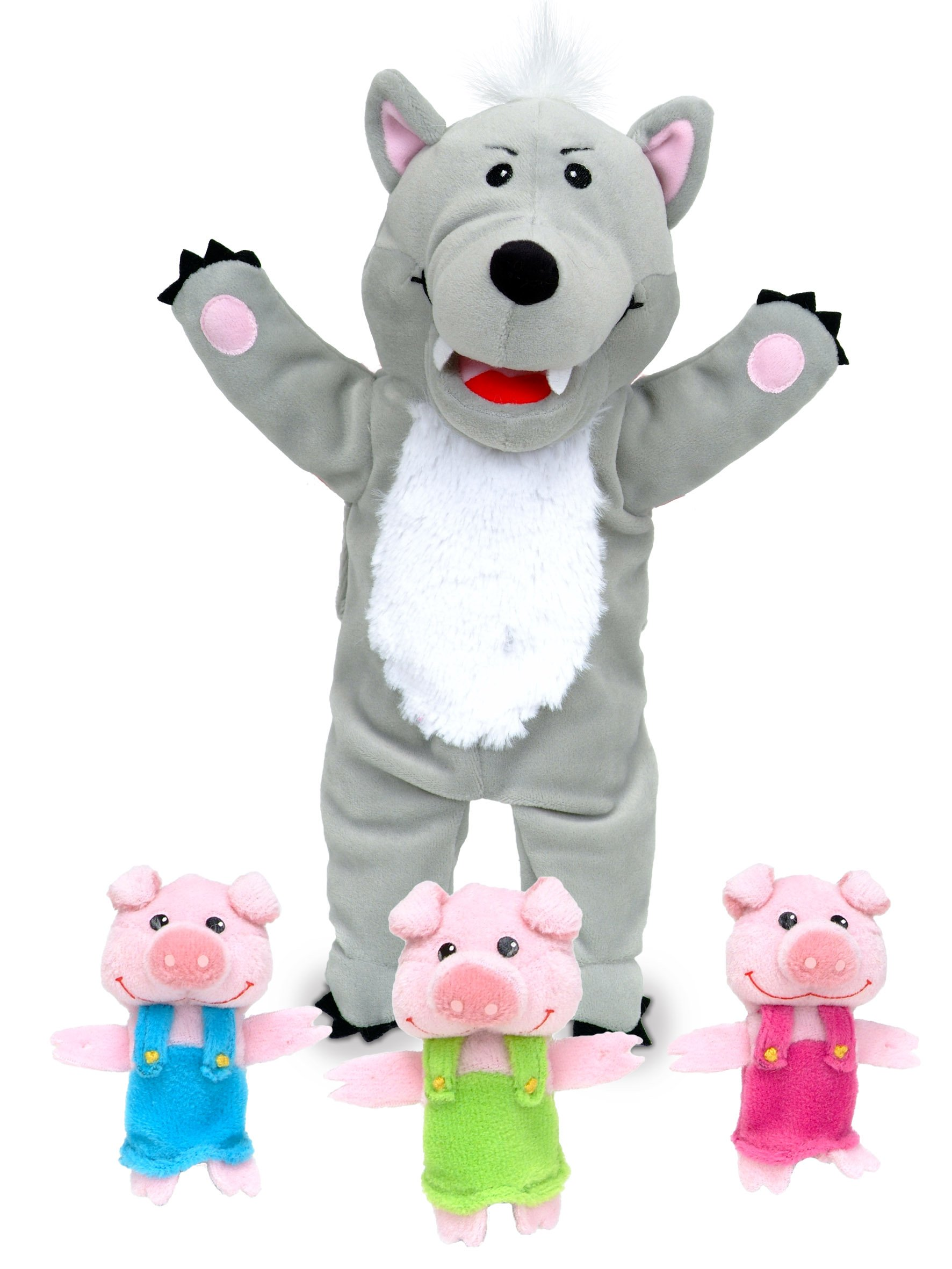 Big Wolf and 3 Little Pigs Hand and Finger Puppet Set